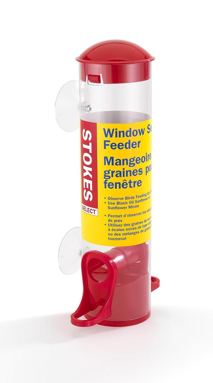 Stokes Select Window Bird Feeder, Small Tube Bird Feeder, Red.7 lb Seed Capacity Hiatt Manufacturing 38165