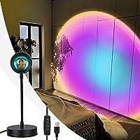 Zonsondergang Projectielamp Led Dimbaar, WOANWAY 360 ° Rotatie Regenboog Projectielamp, Romantisch Nachtlampje voor…