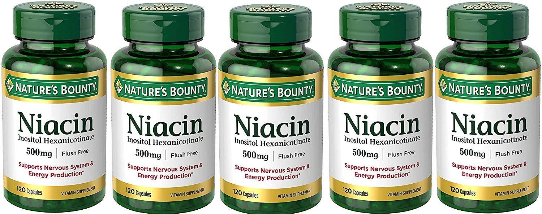 Natures Bounty, Niacin Flush Free 500 mg, 5 Bottles (120 Count)