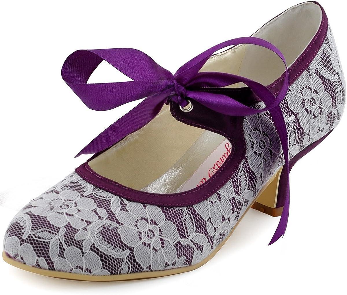 Elegantpark - Zapatos de Vestir de satén Mujer