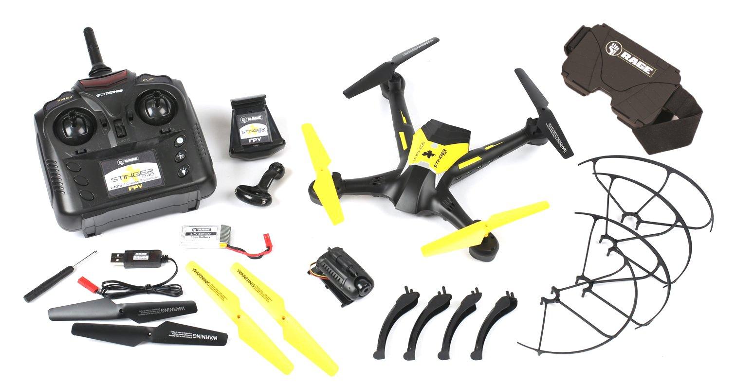 Rage RC Stinger 240 Fpv Rtf Drone Radio Control Hobby Vehicle, Black and Yellow