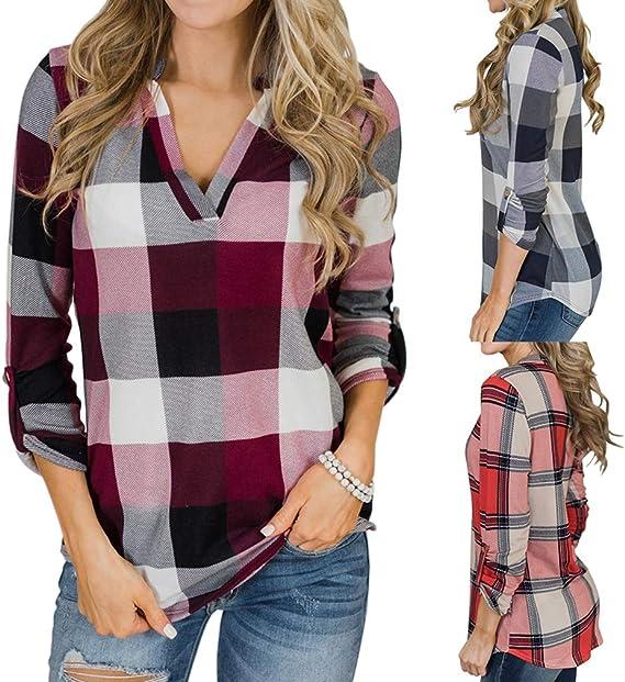 Mujer Camisas Cuello V Blusa Tunic Top Manga Larga Camisa ...