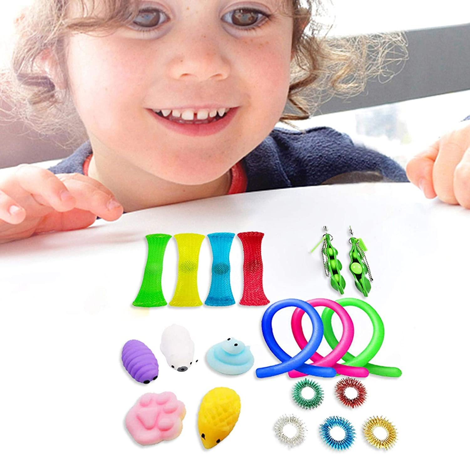 20Pcs Sensory Fidget Toys Set,Stress Relief Fidget Box Toys Pack for Adults Kids Treasure Box Prizes,Carnival Festival Goodie Bag Fillers,Birthday Party Favors Gifts