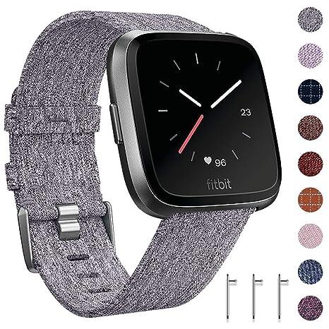 CAVN Fitbit Versa Bracelet Tissée, Réglable Courroie de Remplacement Bracelet de Montre à Libération Rapide (2-Gris): Amazon.fr: High-tech