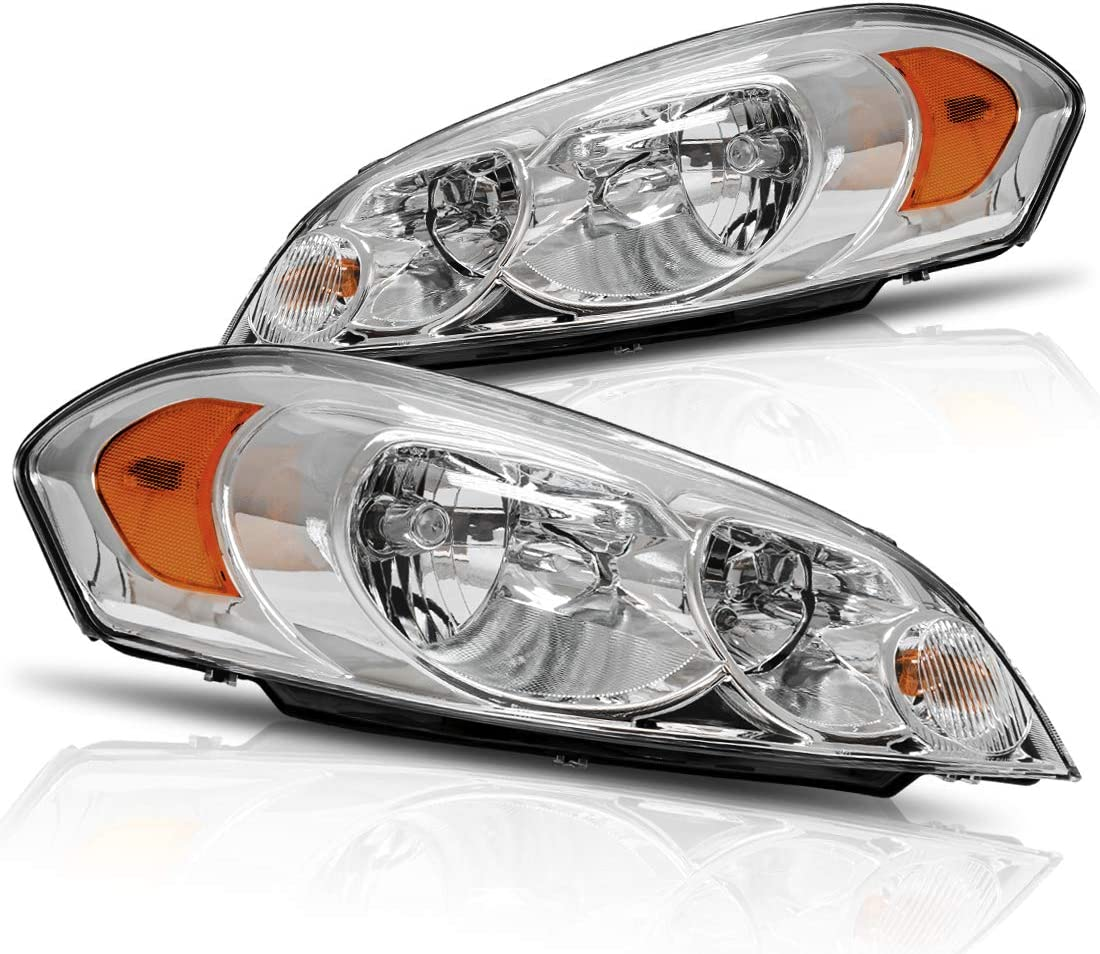 Chrome Housing Headlight Assembly Set Compatible with 2006-2013 Chevy Impala 14-16 Chevrolet Impala Limited 06-07 Chevy Monte Carlo Sealed Headlamp Replacement Passenger Driver Side
