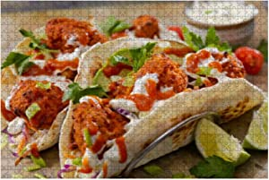Wooden Puzzle 1000 Pieces Crispy Baked Buffalo Wing Cauliflower Tacos Junk Food Stock Pictures Jigsaw Puzzles for Children or Adults Educational Toys Decompression Game