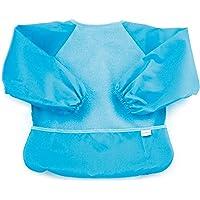 Bumkins Fleece-Front Sleeved Bib / Baby Bib / Toddler Bib / Art Crafts Smock, Waterproof, Washable, 6-24 Months – Blue