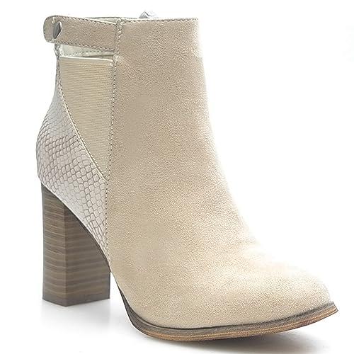 NEW Designer Mujer Zapatos Botines Ankle Boots ka587sl, color beige, talla 38 EU: Amazon.es: Zapatos y complementos