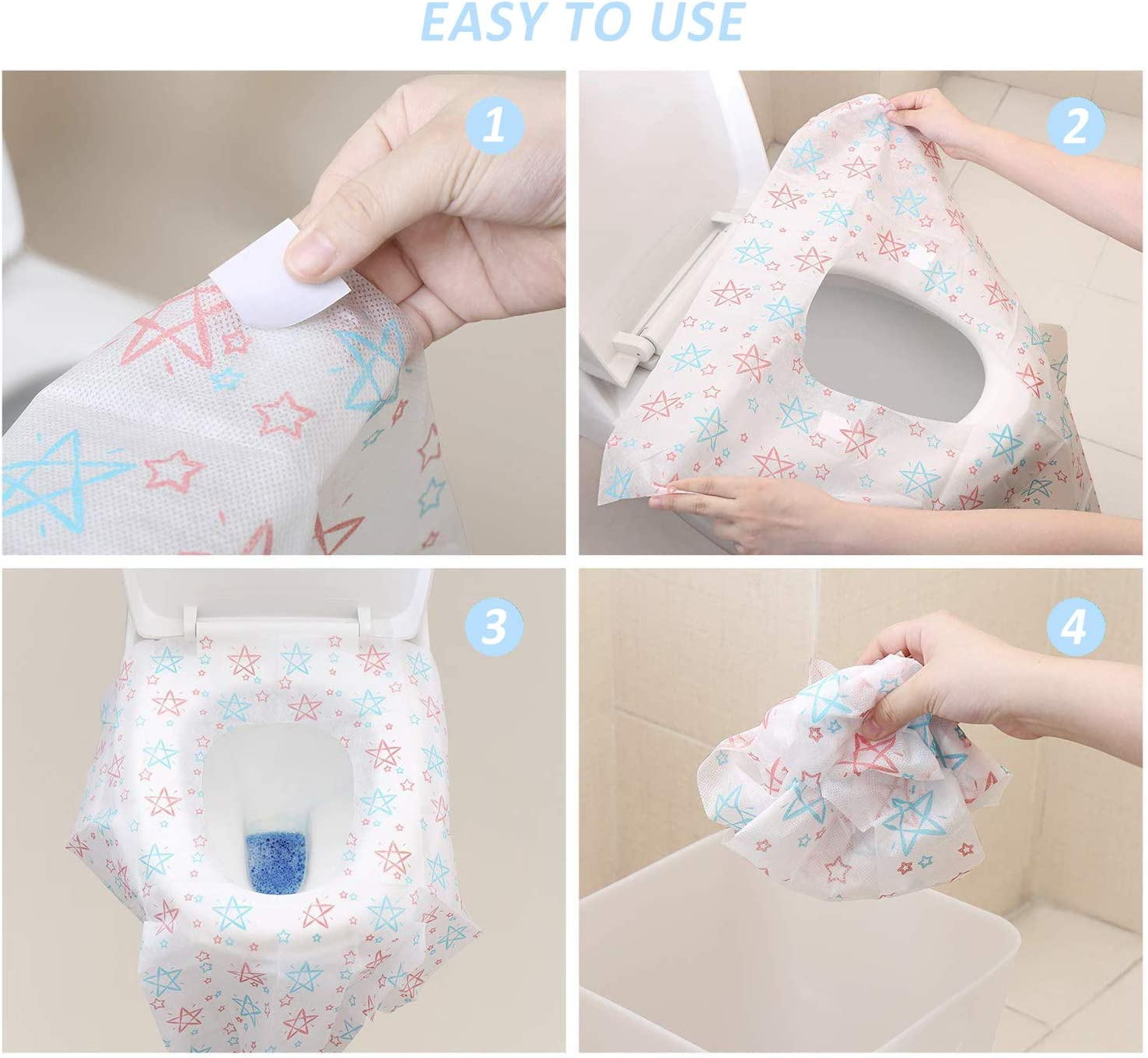 20 Packs Pregnant Full Cover Disposable Toilet Seat Covers Individually Wrapped Portable Potty Shields for Adult XL Large Travel Toilet Potty Seat Covers Kids and Toddler Potty Training