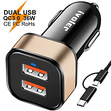 ivoler Dual Quick Charge 3.0 36W 2 Puertos USB Cargador de Coche [2*QC 3.0 Puerto] con Cable de 2 en 1 de Micro USB y Tipo C (1m) para Móviles, ...