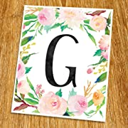 G Monogram Print (Unframed), Nursery Wall Decor, Flower Letter, Floral Alphabet, Living Room Decor, Initial Print, Typography Print, Watercolor, 8x10 , TB-062