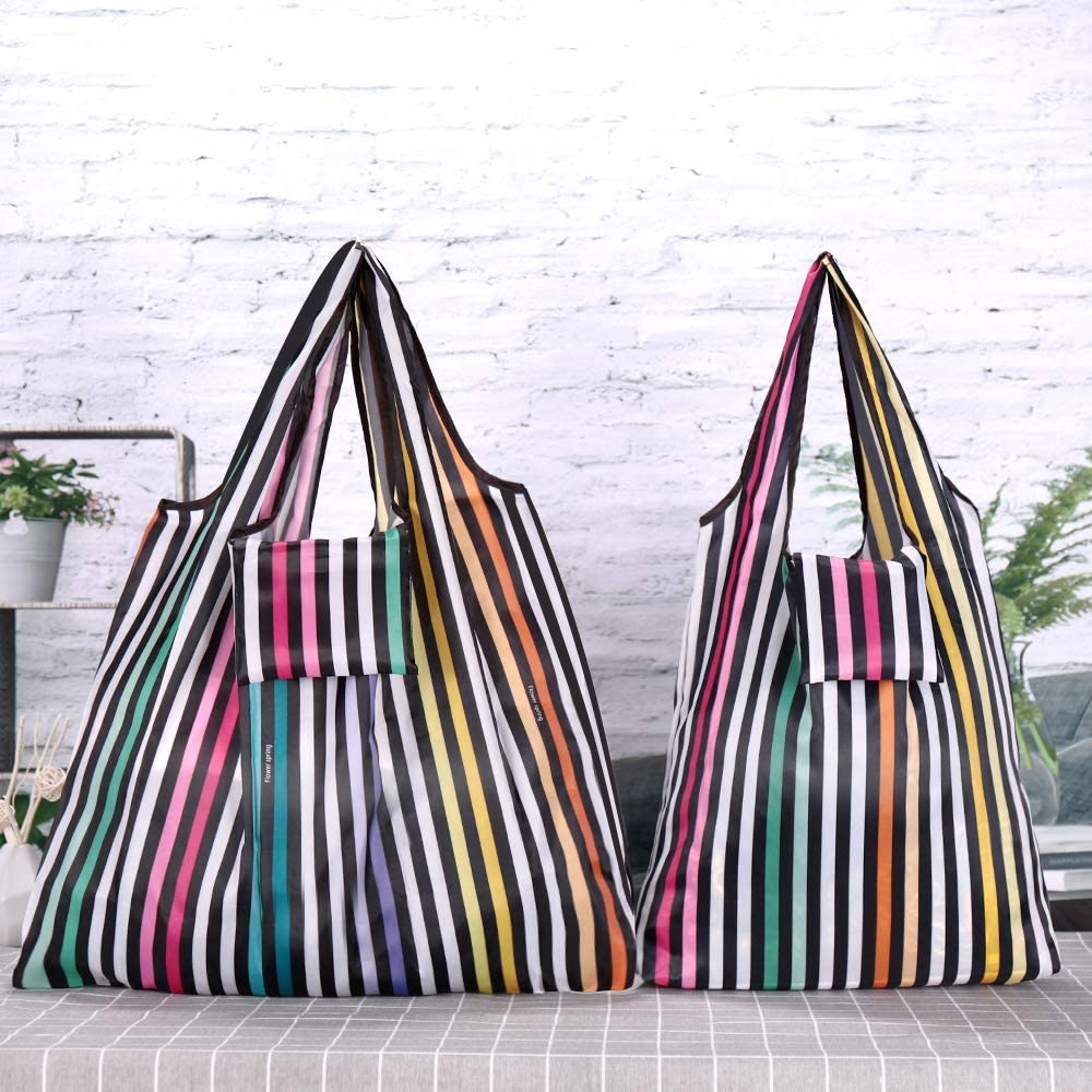 1pc Circle Black Borsa della spesa riutilizzabile Teoyall pieghevole Eco friendly Grocery bag borsa di lavabile resistente 3pcs Striped