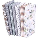 "7Pcs 20"" x 20"" Floral Cotton Fabric DIY Mask Making Supplies Quilting Patchwork Fabric Fat Quarter Bundles DIY for…"