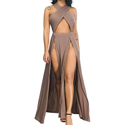 Velius Women Sexy Hollow Out Halter Wrap Sleeveless Plain Pleated Slit Casual Long Maxi Dress: Clothing