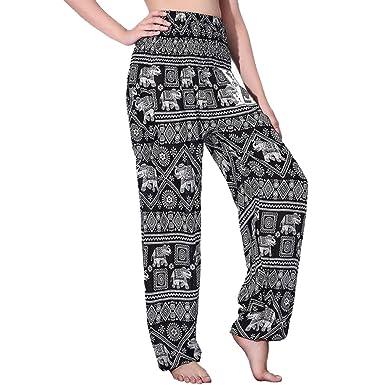 ba8f9bffa Nifty Thai Cotton Elephant Pants for Yoga and Harem Boho Style Women s  Smocked Waist (Black