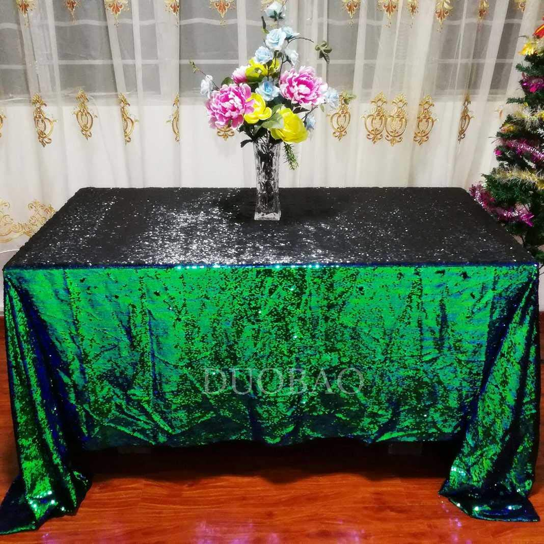 DUOBAO Sequin Tablecloth 60x84-Inch Black Mermaid Sequin Fabric Green to Black Glitter Tablecloth Reversible tablecloths for Rectangle Tables~0516