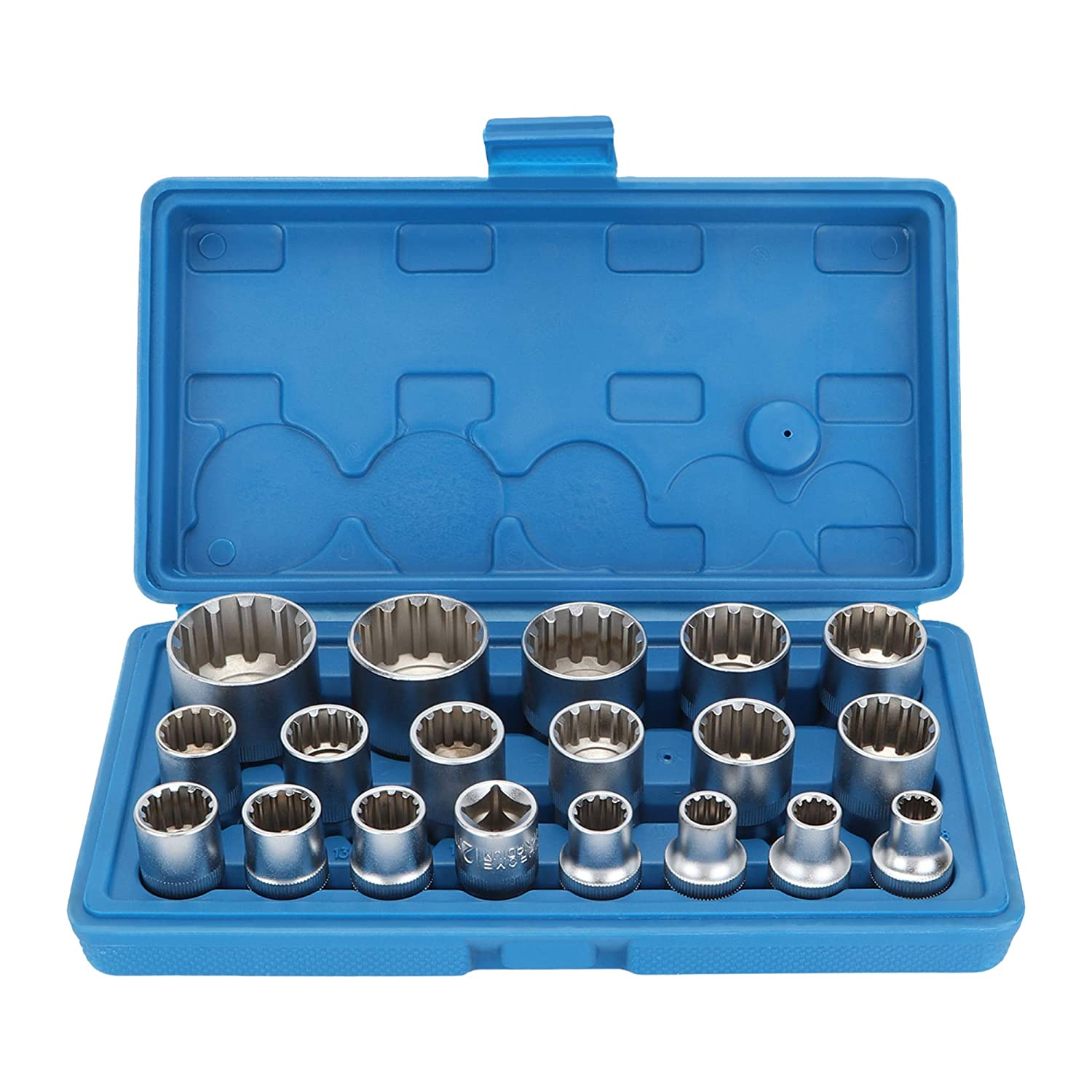OCGIG 9 Pcs 3/8' Drive Hex Allen Socket Key Bits Set Kit H2 H3 H4 H5 H5.5 H6 H7 H8 H10 S2 Steel