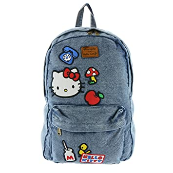 Image Unavailable. Image not available for. Color  Loungefly x Hello Kitty  Denim Icon Patch Backpack 7bfe303220