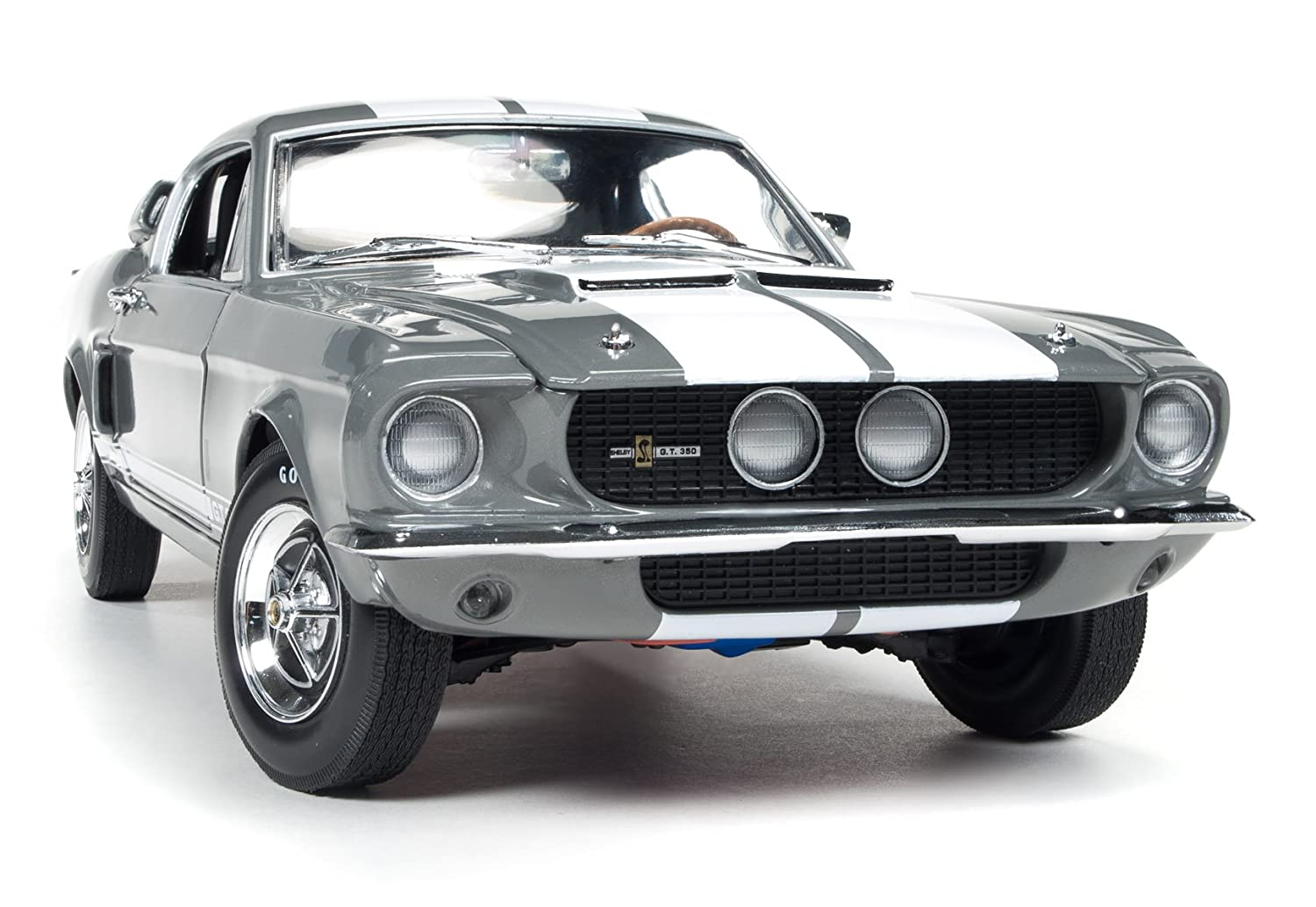 AUTO WORLD AMM1060 SHELBY MUSTANG GT-350 1967 MOUSE-grau W/Weiß STRIPES 1:18