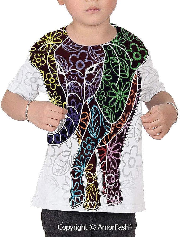 PUTIEN Batik Decor All Over Print T-Shirt,95/% Polyester,Childrens Short Sleeve T-Shirt