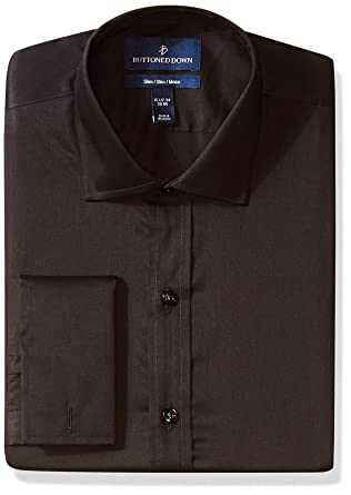 404bee53f113 BUTTONED DOWN Men's Slim Fit French Cuff Micro Twill Non-Iron Dress Shirt,  Black