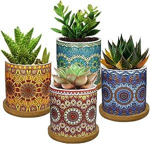 Lewondr 4 Pack Succulent Plant Pots, 2.8 Inch Ceramic Mini Flower Pots Planter with Bamboo Tray for Small Plants Flowers Cactus, Home Decorations Décor - Mandala, Colorful