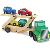 Melissa & Doug  Juego de camión transportador y autos, de madera, compatible con las vías de tren estándar de madera, construcción de madera de calidad, 35.052 cm alto x 17.018 cm ancho x 8.509 cm largo