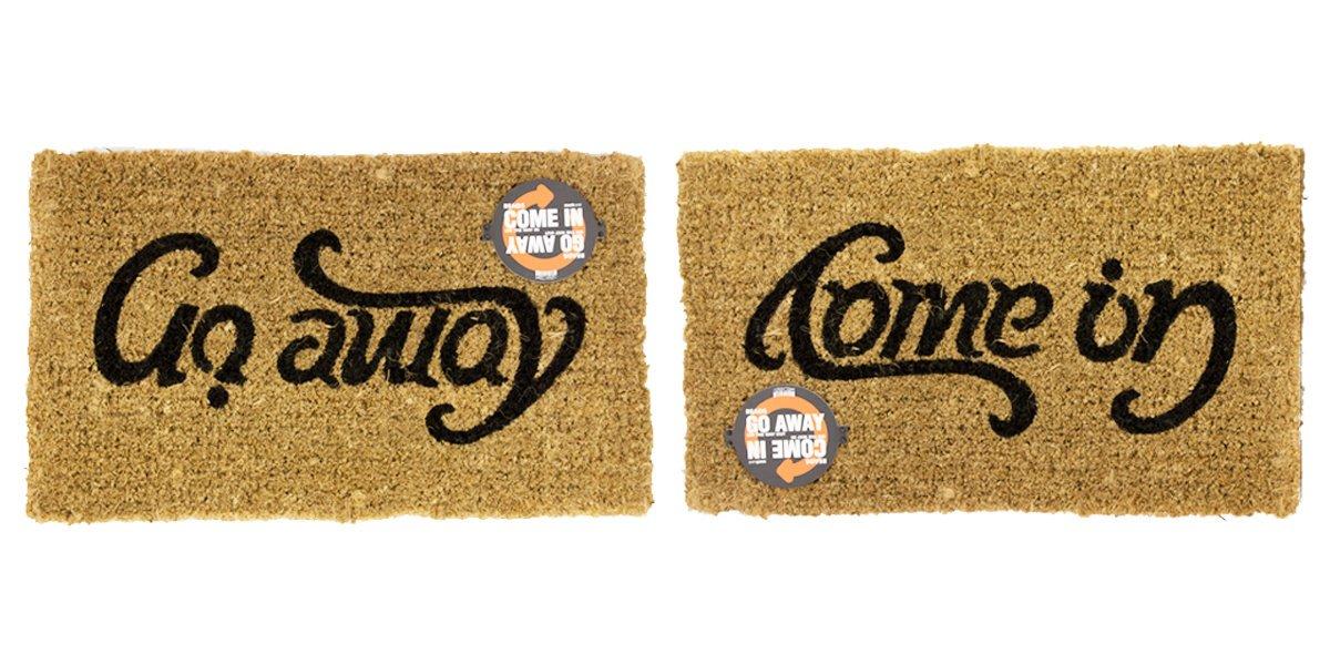 Non Slip ENTRYWAY Rug Brown Come in /& GO Away Doormat | SUCK UK Door MAT