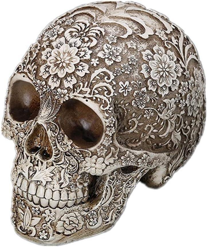Resin Human Skull Decoration, Halloween Decor Skull Sculpture, Creative Adult Skull Flowerpot, Trick Skeleton Craft, Skull Brush Pot, Skeleton Ashtray (Skull Decoration)