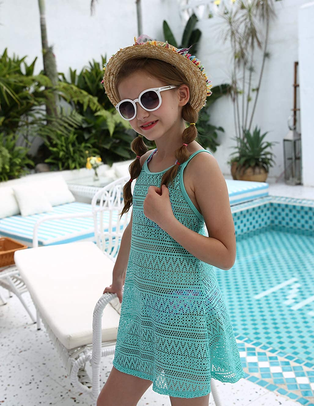 Short Sleeves Hooded Terry Swimwear with Zipper LEINASEN Girls Swim Cover Ups