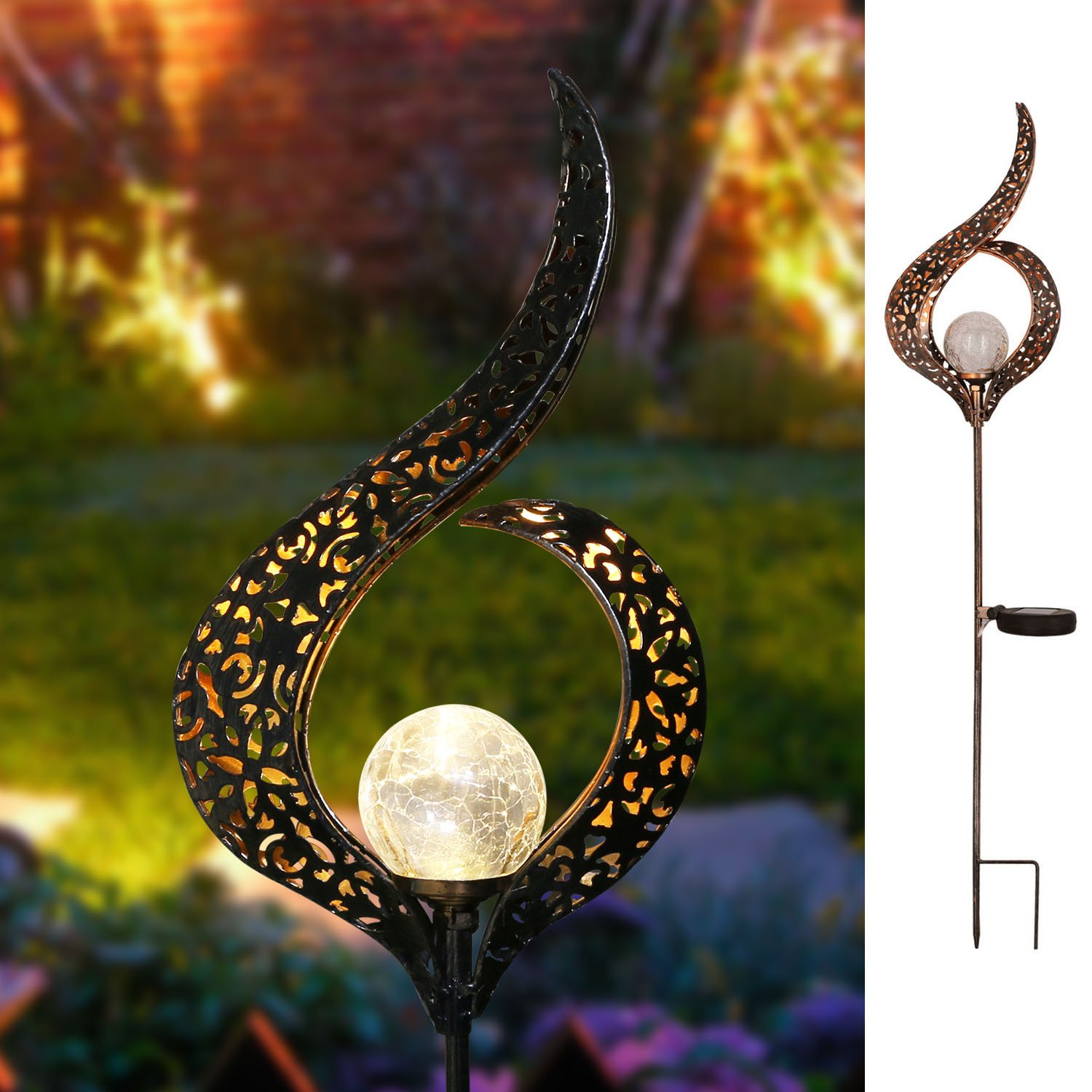 Homeimpro Garden Solar Lights Outdoor, Moon Crackle Glass Globe Stake Lights,Waterproof LED Lights for Garden,Lawn,Patio or Courtyard (Flower.)