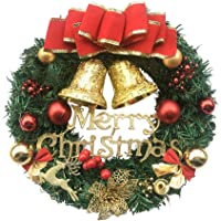 Fanme Christmas Wreath Merry Christmas Front Door Ornament Wall Artificial Pine Garland for Party Décor 12 Inches
