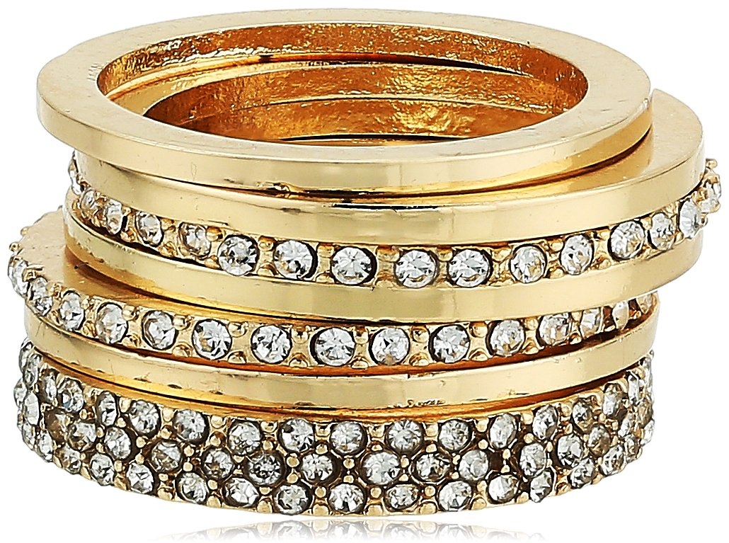 GUESS Womens Five-Piece Dainty Stack Ring Set Gold/Crystal 7 One Size
