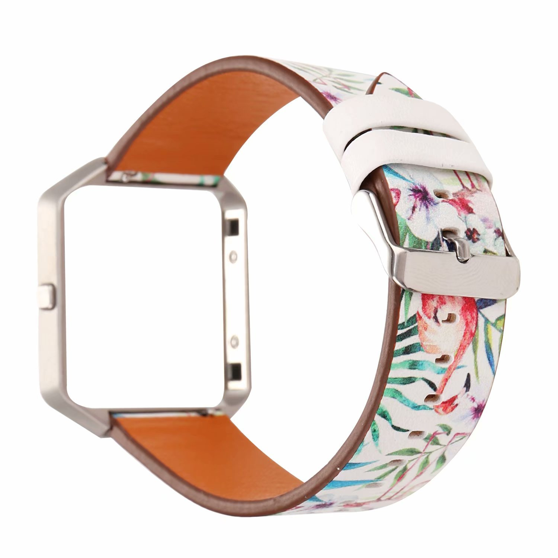 Fitbit Blazeレザーバンドwithメタルフレーム、ソフト本革リストバンドFitbit Blaze交換用時計バンドFitnessストラップレディースメンズ B07DC1WM5J フラミンゴ