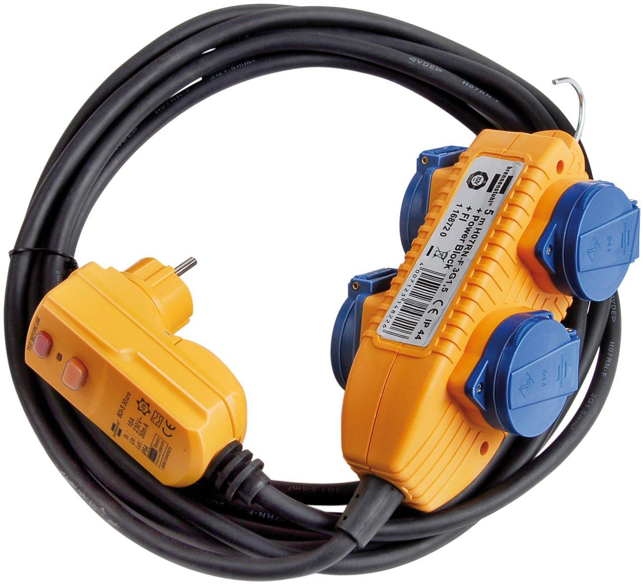 Brennenstuhl Schutzadapterleitung FI IP44 2m schwarz, 1160370 ...