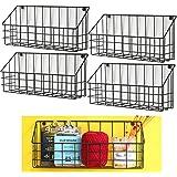 Set of 4, Vintage Metal Wire Basket Wall Mount Hanging Storage Display Rack Shelf Holder Desk Organizer (Black)