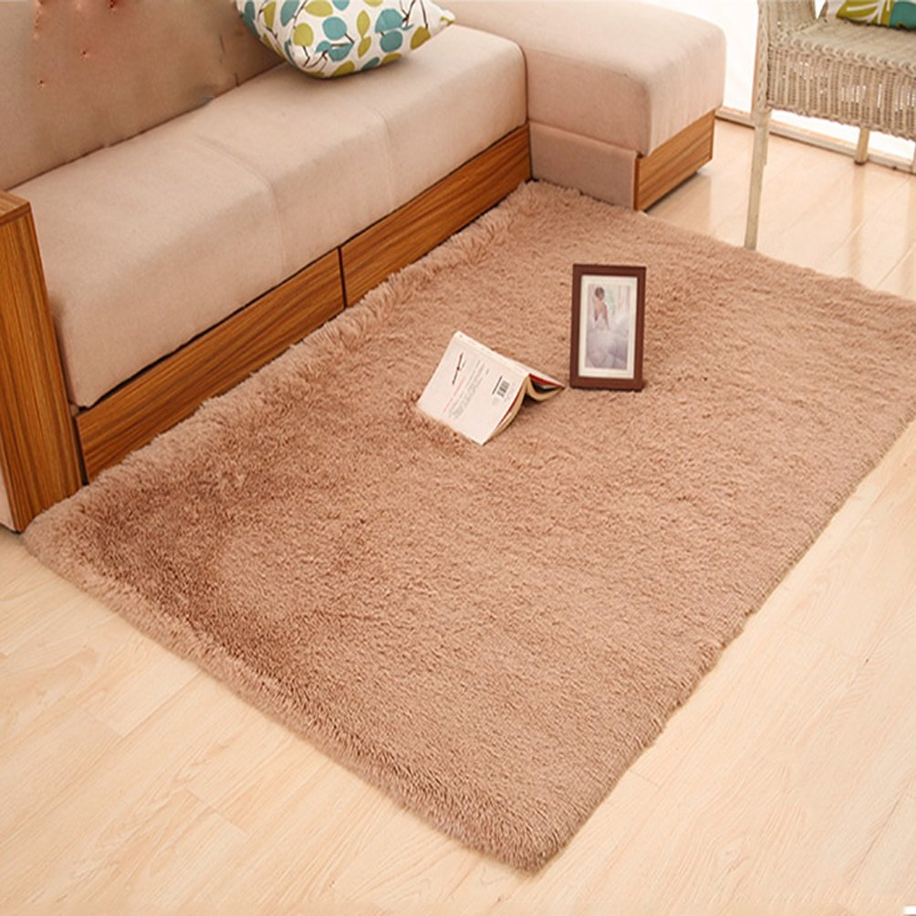 Rug WAN SAN QIAN- Children Bedroom Carpet Living Room Carpet Sofa Europe Princess Rectangle Thicker (Color : Camel, Size : 140X200CM)