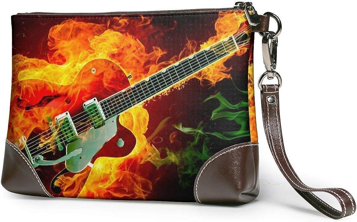 GLGFashion Embrague de cuero Bolso Billetera Women's Leather Wristlet Clutch Wallet Rockabilly Guitar Fire Storage Purse With Strap Zipper Pouch