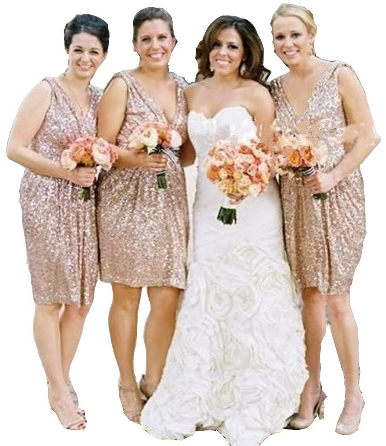Lorderqueen Women\'s Short Rose Gold Sequins Bridesmaid Plus Size Party  Dress Size 26 Rose Gold2