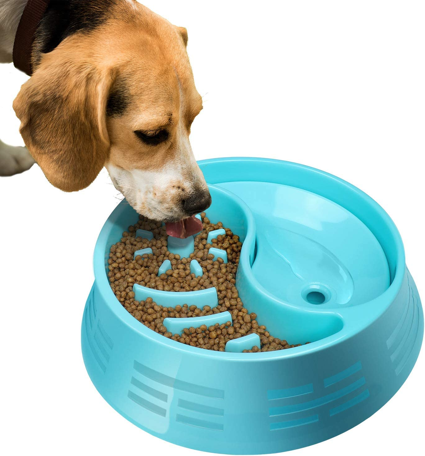 Slow Feeder Eating Dog Bowls Fun Feeder Non Slip Pet Bowl, Dog Food and Water Plastic Double Bowls for Small Medium Large Dogs Blue