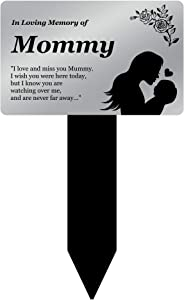 OriginDesigned in Loving Memory of Mommy - Engraved Memorial Stake with Poem and Illustration (Gold/Silver/Copper or Black & White Plaque) (Silver)