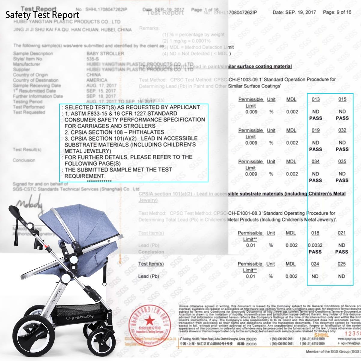 Infant Baby Stroller Toddler Carriage - Cynebaby Folding Pram Bassinet Strollers with Cup Holder (blue) by cynebaby (Image #7)