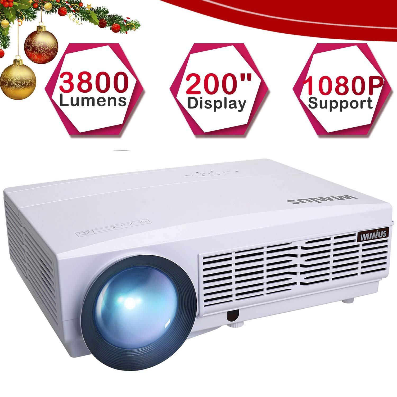 Proyector, WiMiUS Video Proyector 3800 Lúmenes Full HD Soporta 1080P Proyector Cine en Casa 50000 Horas Proyectores HD Compatible con ...