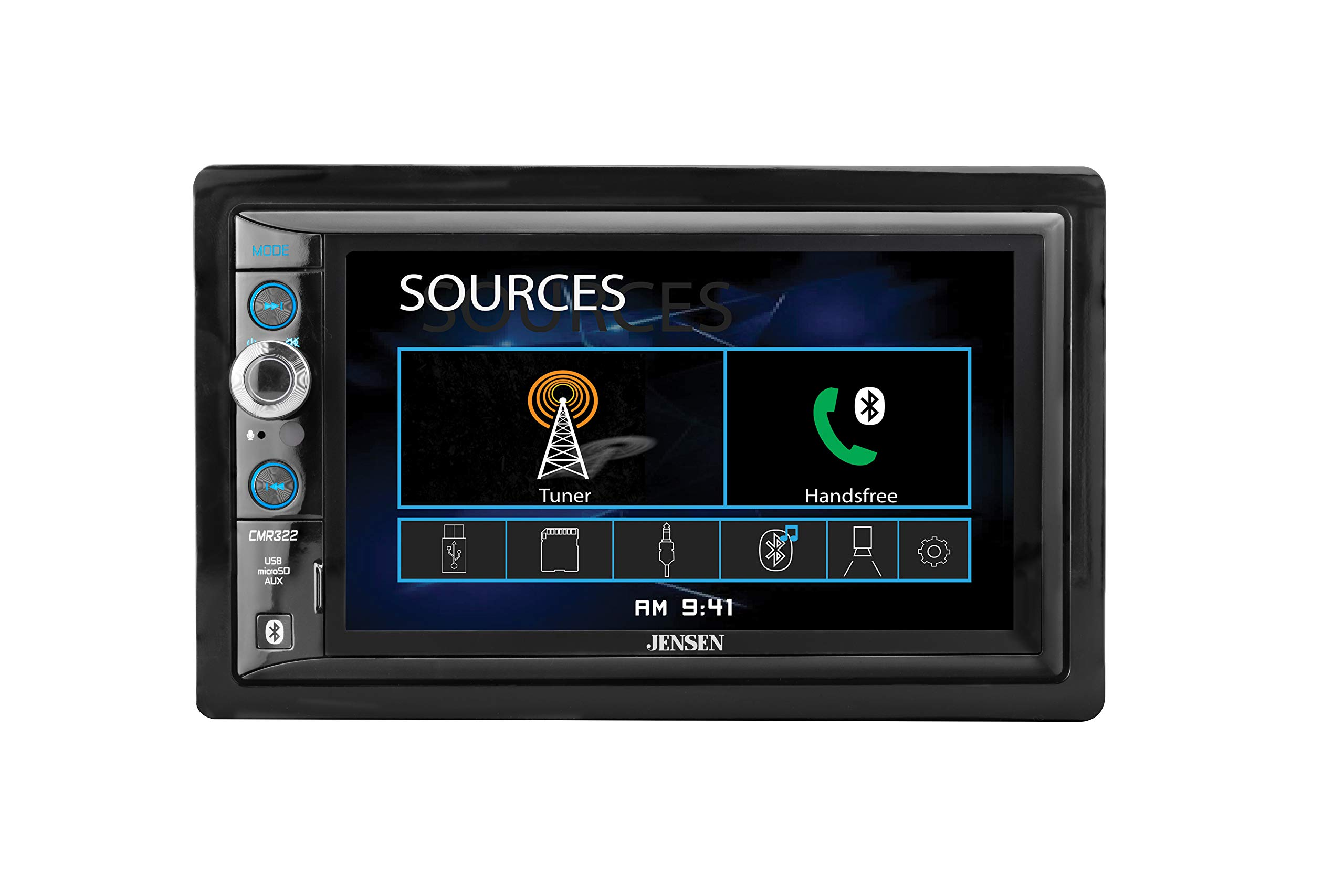 JENSEN CMR322 Double DIN Car Stereo Digital Receiver with 6.2-inch LED Backlit LCD Multimedia Touch Screen Built-In Bluetooth/MP3 & FLAC/USB & microSD by Jensen