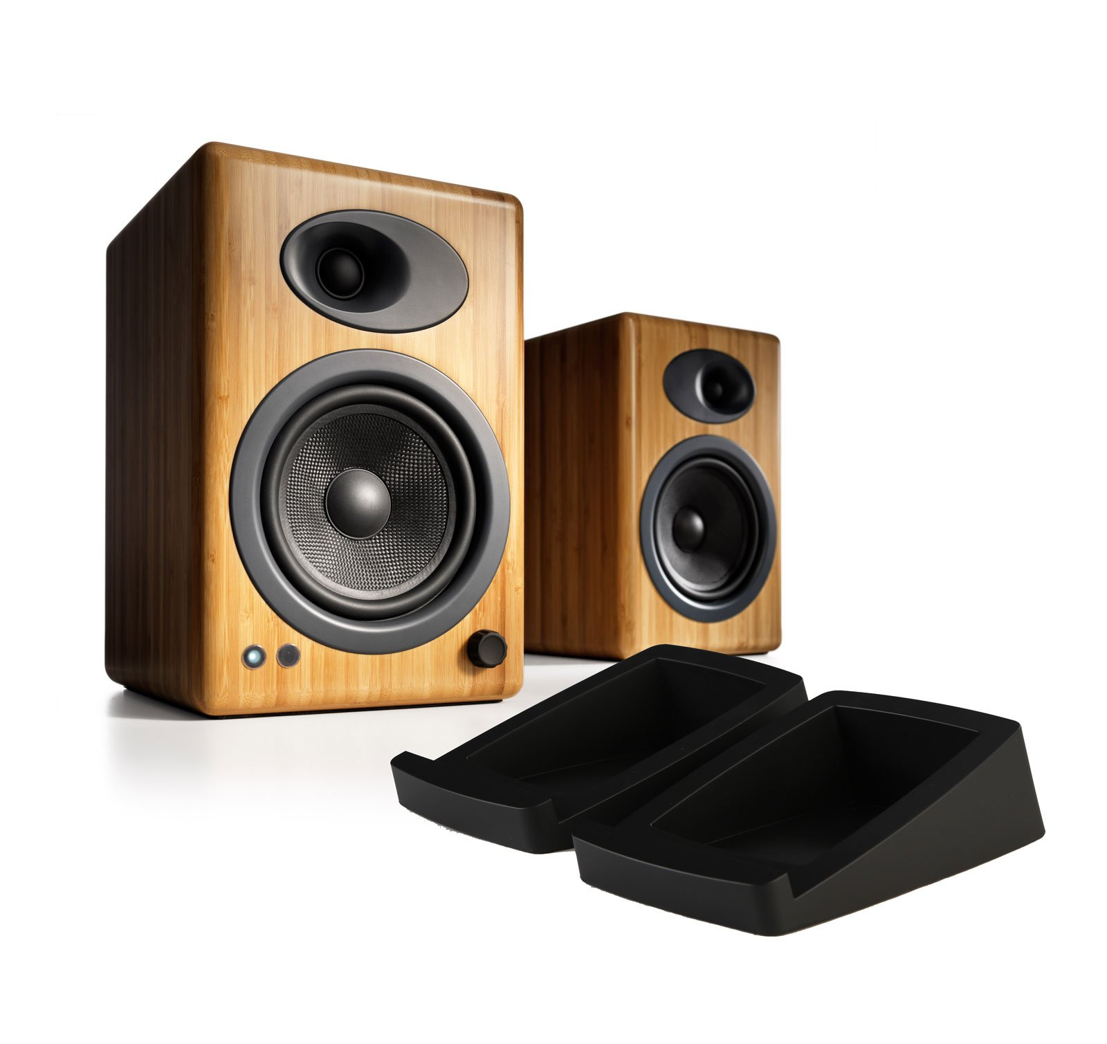 Audioengine A5+ Powered Desktop Speaker (Pr) - Bamboo w/DS2 Desktop Speaker Stands Bundle by Audioengine (Image #1)