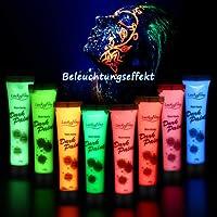 Halloween Neon Nights UV-Licht Bodypainting Schminket, Luckyfine Fluoreszierende Farben Körpermalfarben Set für Body und Facepainting, Geschenk für Karneval, Party & Weihnachten