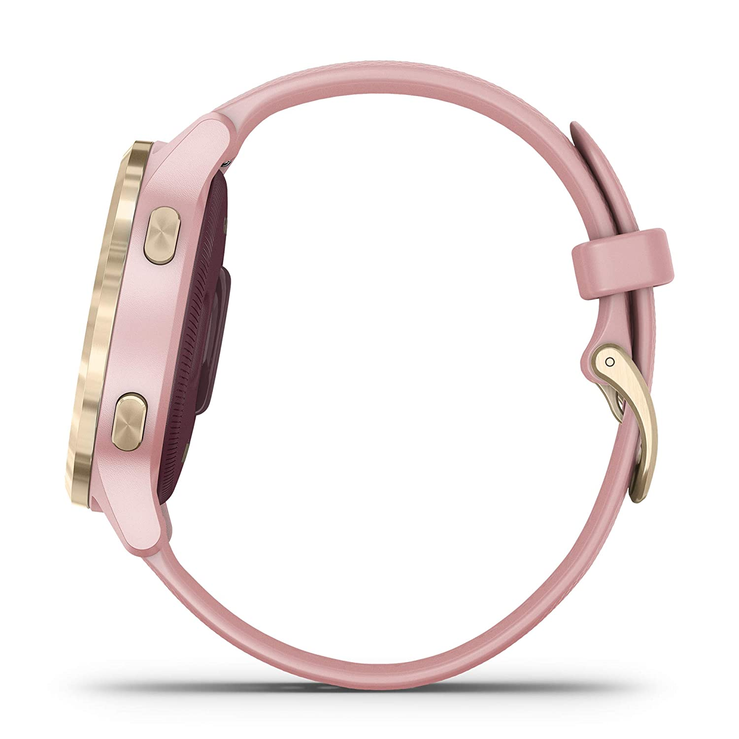 Smaller-Sized GPS Smartwatch Animated Workouts Features Music Body Energy Monitoring Garmin v/ívoactive 4S Light Gold with Light Pink Band Pulse Ox Sensors and More