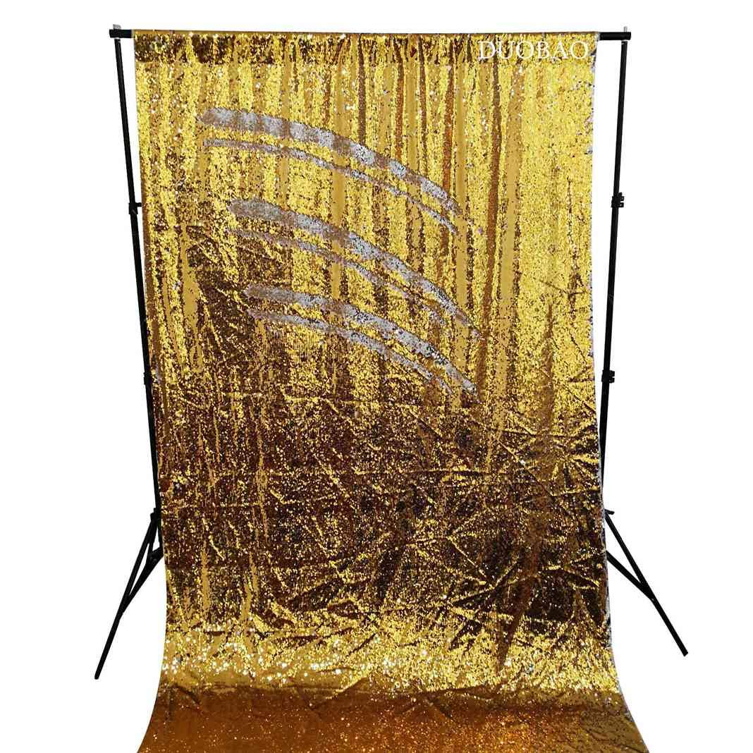 DUOBAO Sequin Backdrop 8Ft Mermaid Sequin Curtains Gold to Silver Reversible Shimmer Backdrop 6FTx8FT Sparkle Photo Backdrop
