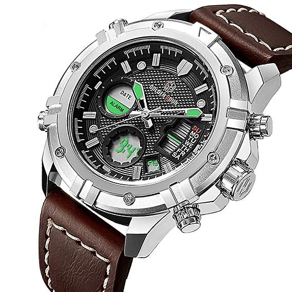BHGWR Reloj Digital analógico para Hombre, Relojes de Pulsera Impermeable con cronómetro 3ATM para Hombres, Reloj Digital Deportivo con Correa de Cuero ...
