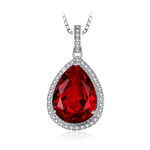Jewelrypalace Luxury Pear Cut Created Gemstone Solid 925 Sterling Silver Pendant Necklace 18 inches xfXnu